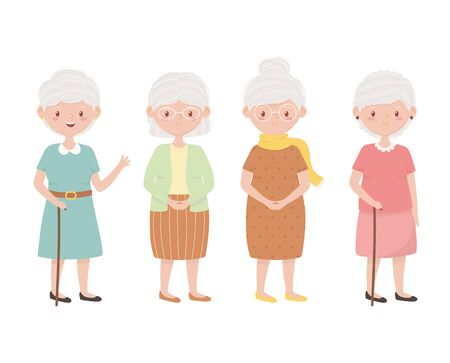 old people, group grandmothers, elderly persons together cartoon characters vector illustration