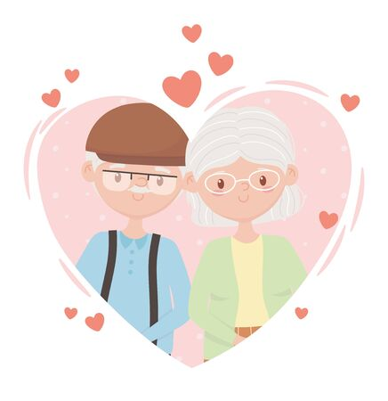 old people, cute couple grandma and grandpa in love heart cartoon characters vector illustration