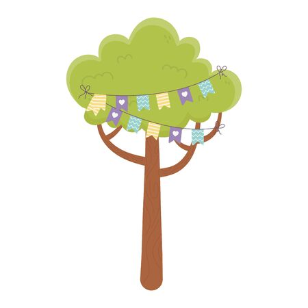 tree with pennants decoration party celebration isolated icon vector illustration