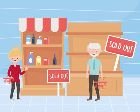 woman and man customers with empty baskets and shelves market excess purchase vector illustration Illustration
