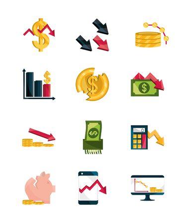 financial business crisis economy money stock market crash icons set isolated icon