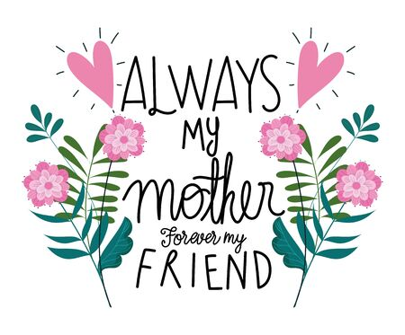 happy mothers day, always my mother forever my friend flowers card