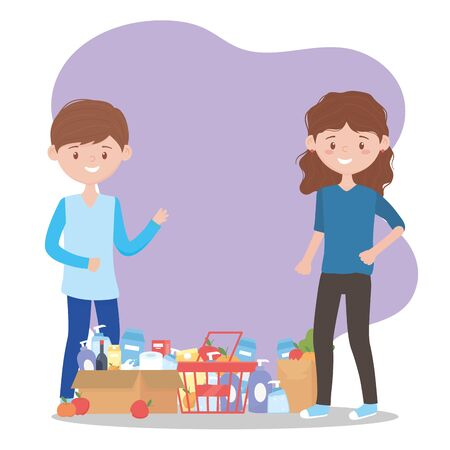 happy customer with many supermarket products excess purchase vector illustration