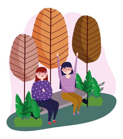 young women sitting in bench in the park leisure vector illustration