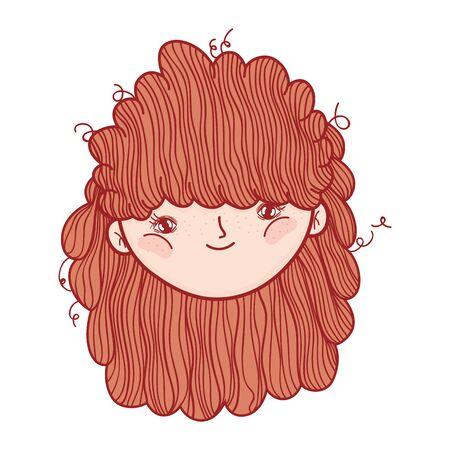 cute little girl face cartoon isolated icon design