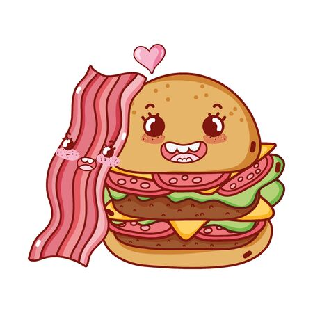 fast food cute double burger and bacon cartoon vector illustration