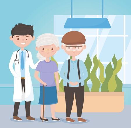 young physician and old couple assistance medical, doctors and elderly people