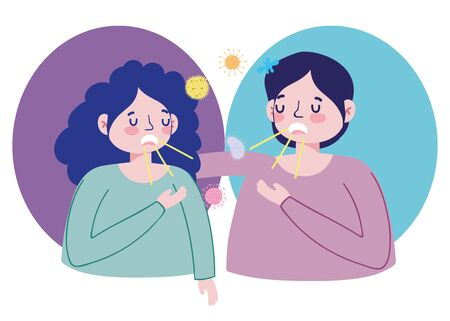 couple coughing spreading disease covid 19 coronavirus pandemic prevention