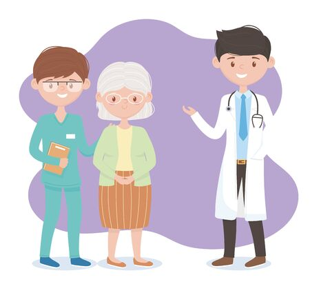 physician nurse and grandmother characters, doctors and elderly people