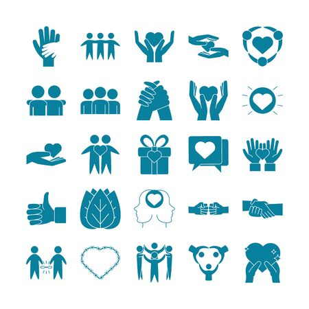 Happy Friendship Day Feier Liebe Beziehung Support Team Icons Set Line Style