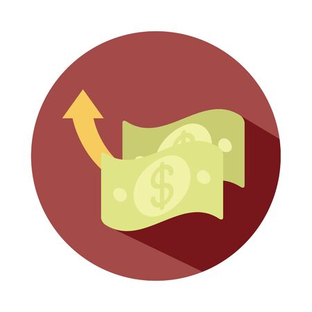 bills money market going up arrow, rising food prices, block style icon Illustration