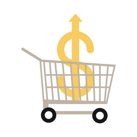 shopping cart with money going up arrow, rising food prices, flat style icon Vettoriali