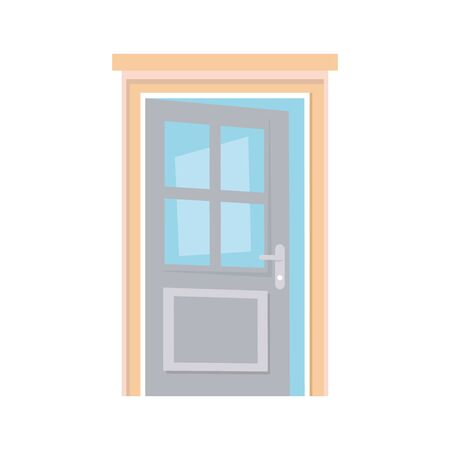open door home frame isolated icon white background vector illustration