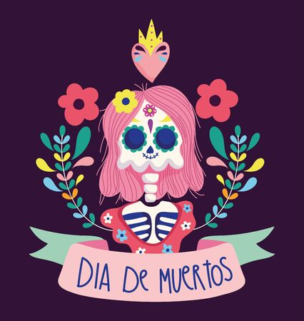 day of the dead, female skeleton heart flowers decoration traditional mexican celebration