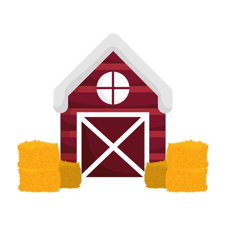 farm cartoon wooden barn stack of hay