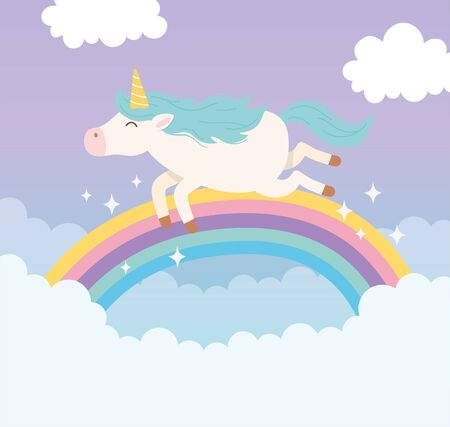 unicorn flying rainbow clouds magical fantasy cartoon cute animal vector illustration Vectores