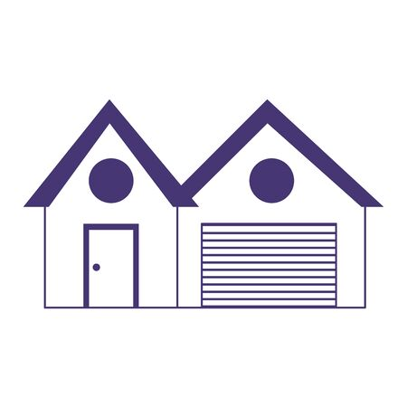 house garage property real estate isolated icon line style