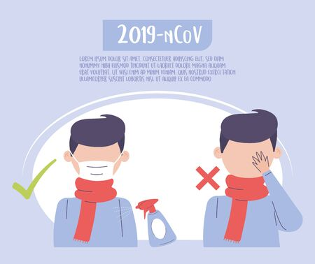 covid 19 quarantine, wear medical mask and avoid touching eyes prevention