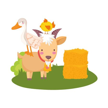 farm animals goose chicken in goat hay with arrow sign cartoon vector illustration  イラスト・ベクター素材