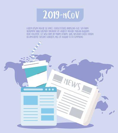 covid 19 quarantine, outbreak through social media, breaking news world Illusztráció