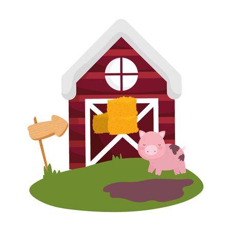 farm animals pig stack hay barn guide arrow cartoon vector illustration