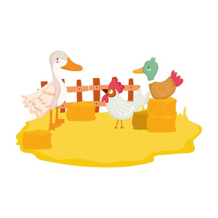 farm animals duck goose and rooster stack of hay cartoon vector illustration