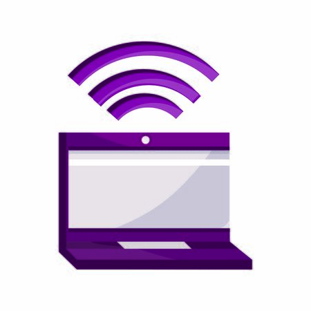 online activities, laptop computer internet wifi connected device vector illustration flat style icon Ilustração