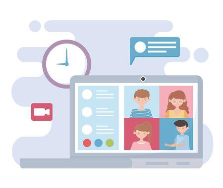 meeting online, laptop people working clock speech bubble video