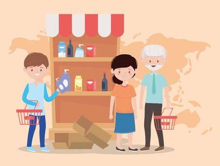people buying supermarket shelf, world crisis excess purchase