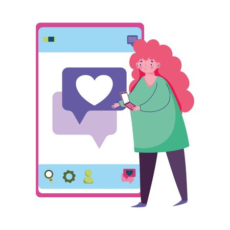 people and smartphone, young woman using smartphone texting love vector illustration