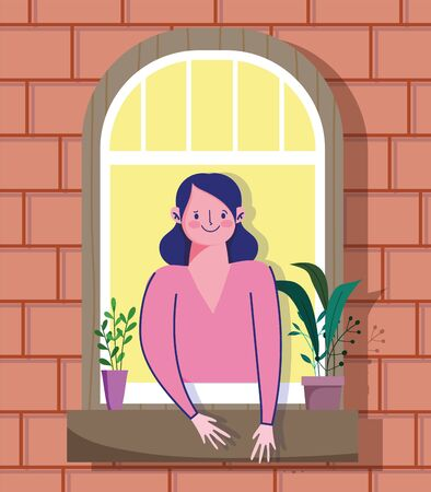 stay home quarantine, woman looking at the window with plant in pot, facade of the brick building Vettoriali