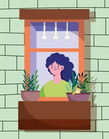 stay home quarantine, woman looking at the window with plant in pot, facade of the brick building vector illustration