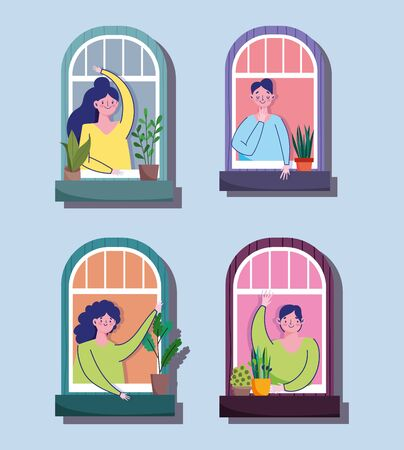 stay at home quarantine, women and men waving hands in their windows cartoon vector illustration