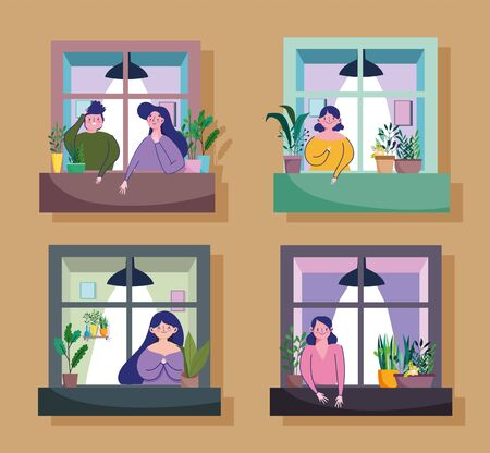 stay home quarantine, people looking out their apartment window vector illustration