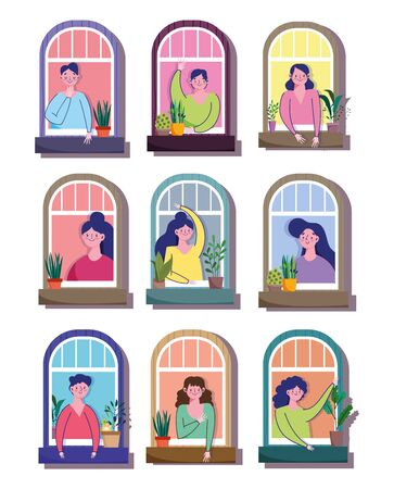 stay at home quarantine, men and women in windows residential building cartoon Vettoriali