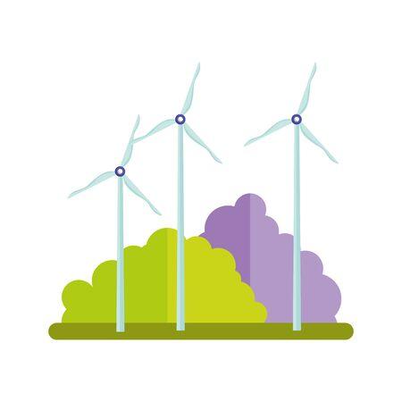 eco friendly energy renewable windmills bushes isolated icon design vector illustration