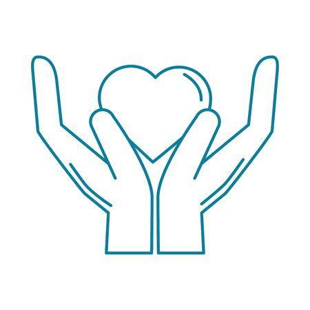 happy friendship day celebration hands with heart love line style icon Ilustración de vector