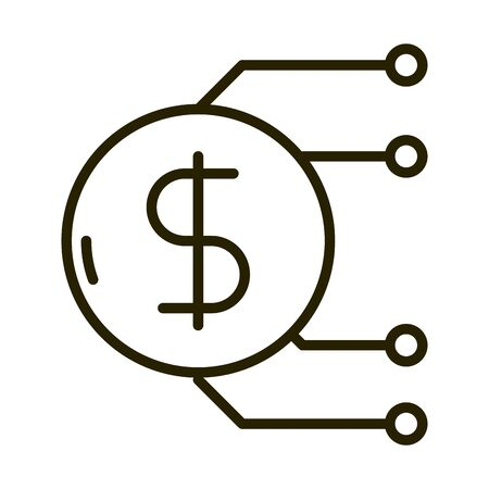 money coin digital business financial investing vector illustration line style icon