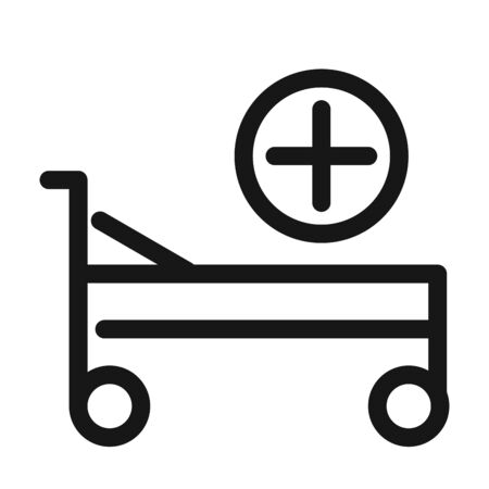 hospital bed equipment medical and health care line style icon