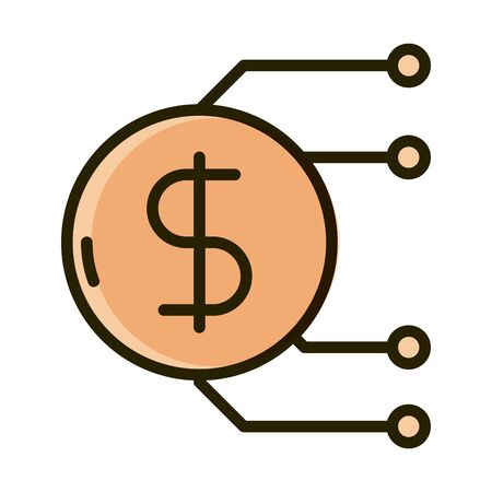 money coin digital business financial investing vector illustration line and fill icon