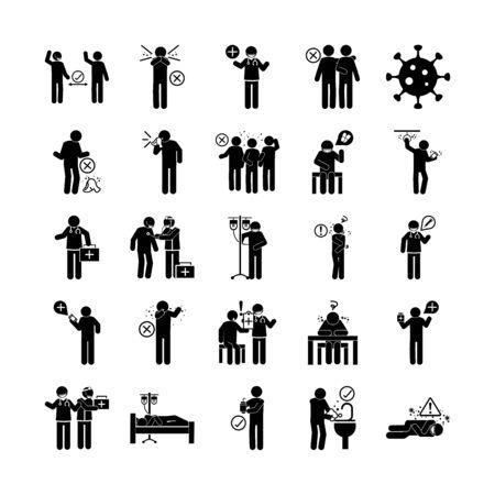 coronavirus covid 19, pictograma de salud, prevención, síntomas, conjunto de iconos médicos, icono de estilo de silueta