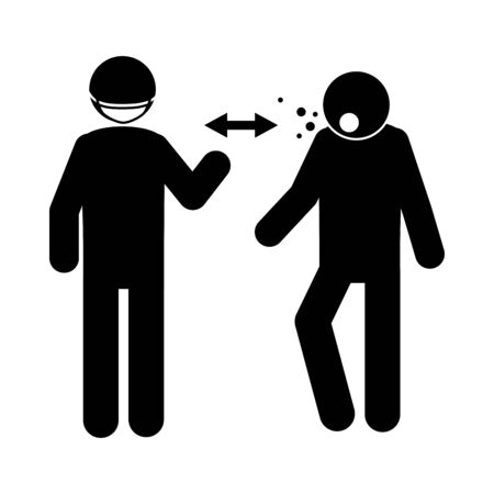 coronavirus covid 19, social distancing prevention, avoid sick people, health pictogram, silhouette style icon