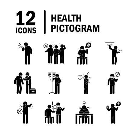 coronavirus covid 19, pictogramme de santé, prévention, symptômes, ensemble d'icônes médicales, icône de style silhouette Vecteurs