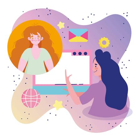 meeting online, women computer conference network cartoon