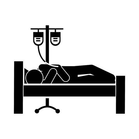 coronavirus covid 19, sick person in bed hospital with iv stand medicine, health pictogram, silhouette style icon Illusztráció