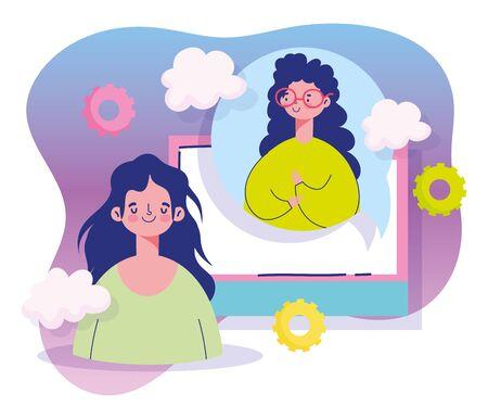 meeting online, young women socialize communication cartoon