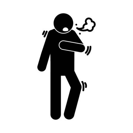 coronavirus covid 19, symptoms dry cough respiratory disease, health pictogram, silhouette style icon Illustration