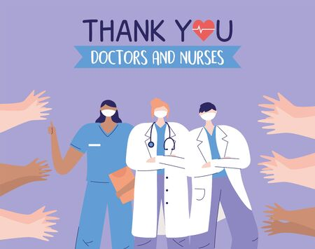 thank you doctors and nurses, physicians nurse and greeting hands