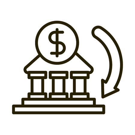 money bank transaction business financial investing vector illustration line style icon Иллюстрация