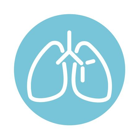 lungs organ breathing system medical and health care block style icon Illustration